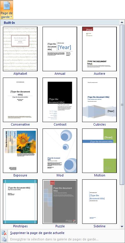 ... des commandes Pages , sélectionnez l'option Page de garde